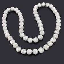white beads necklace images Iced out disco ball necklace with dazzling white crystal beads jpg