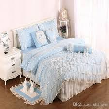 light blue cotton satin princess lace girl duvet cover bed skirt pillowslips set bedding set for twin full queen king comforter gift cotton duvet covers