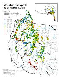 Canada And United States Map by Mountain Snowpack Map Western Us