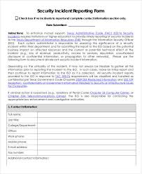 Computer Security Incident Report Template by 36 Free Incident Report Forms