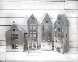 tin home decor tin lanterns candle holders tin houses set of 4 modern home