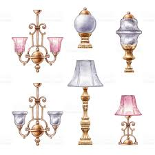 Free Chandelier Clip Art Watercolor Illustration Interior Design Elements Assorted Lamp