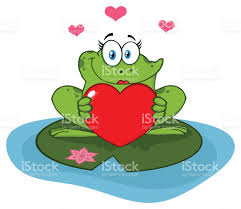 cute frog female cartoon mascot character in a pond holding a