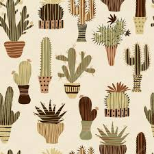 flat seamless pattern with succulent plants and cactuses in pots