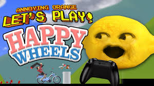 annoying orange let s play happy wheels with lemon