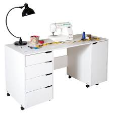 Computer Desk On Wheels Crea Sewing Craft Table On Wheels Pure White South Shore Target