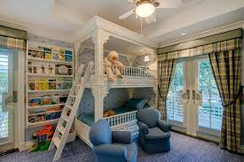 Traditional Kids Bedroom With Custom Bunk Bed  French Doors In - Land of nod bunk beds