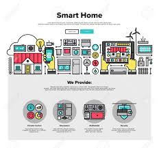 One Page Web Design Template With Thin Line Icons Of Smart Home - Smart home design