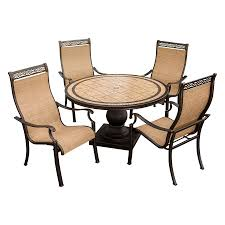 Patio Chairs At Walmart by Shop Hanover Outdoor Furniture Monaco 5 Piece Bronze Stone Patio