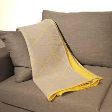 jeté de canapé jaune plaid gris et jaune réversible