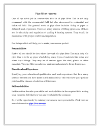 Resume For Bakery Worker Pipefitter Resume Download Is Here To Help You By Providing You