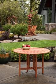 Round Wooden Outdoor Table Drop Leaf Patio Table 42