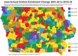Iowa State Map Map Of Iowa Enrollment Changes 2001 2015 Iowa Highway