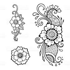 henna tattoo flower template mehndi style set of ornamental