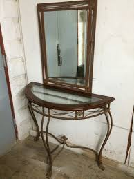 Glass Entry Table Half Moon Glass Entry Table W Mirror Forgotten Furniture