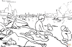 bathers at asnieres by georges seurat coloring page free