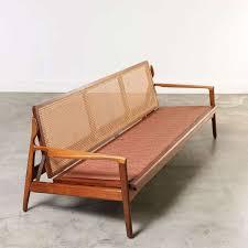 Wooden Frame Sofa Set Midcentury Sofa Wood Frame With Cane Back Denmark 1960s At 1stdibs