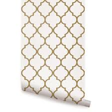 Moroccan Wall Decal by Moroccan Wallpaper Gold Peel And Stick