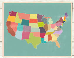 us map states high resolution state map wall etsy