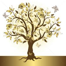 abstract golden tree vector illustration olga drozdova