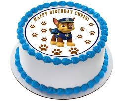 Paw Patrol Chase Edible Birthday Cake OR Cupcake Topper – Edible