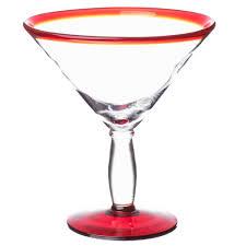 martini red libbey 92307r aruba 24 oz martini glass with red rim and base