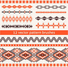 set of ethnic navajo style vector pattern brushes geometric
