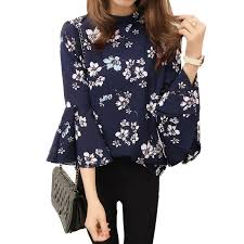 floral chiffon blouse 2016 autumn floral chiffon blouse tops flare sleeve shirt