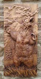animal carved bear wood wall hanging home decor woodwork totem