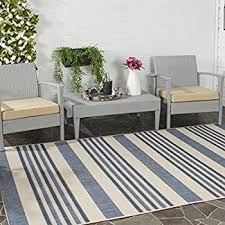 Striped Indoor Outdoor Rugs Amazon Com Safavieh Courtyard Collection Cyl7062 233a Beige And