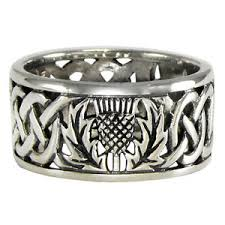 celtic knot ring sterling silver wide scottish thistle wedding band with celtic