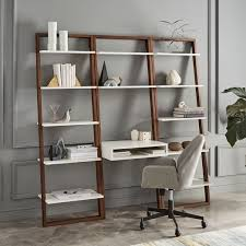 Ladder Office Desk Ladder Shelf Desk Wide Bookshelf Set West Elm With Bookshelf With
