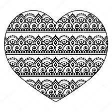 mehndi indian henna tattoo heart seamless pattern u2014 stock vector