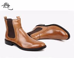 brown leather chelsea mens ankle boots pointed toe high class