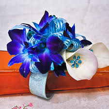 blue orchid corsage blue white wrist corsage cherry blossoms florist westminster co
