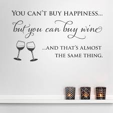 wine and happiness quote wall decals sticker kitchen quotes