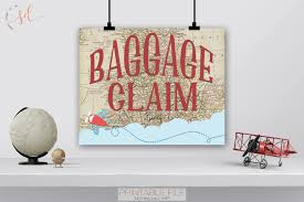 vintage travel party sign baggage claim sign around world