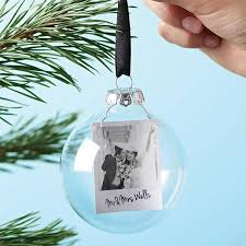 photo mr and mrs personalised bauble by