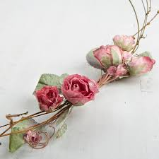 dried roses flocked artificial dried and twig swag picks and stems