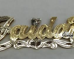 Nameplate Necklace Double Plated 14k Gold Overlay 3d Double Plate Name Necklace Free