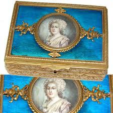 Gilt Bonze Enameled Portrait Antique Napoleon Iii Era Gilt Bronze Guilloche Enamel Casket