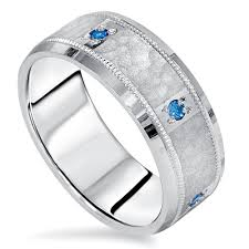 Mens 8mm White Gold Comfort Fit Wedding Band Blue Diamond Hammered Wedding Band Mens Ring 14k White Gold 8mm