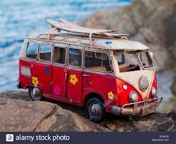 volkswagen models van model car of a volkswagen t1 classic hippy van on a rock on the
