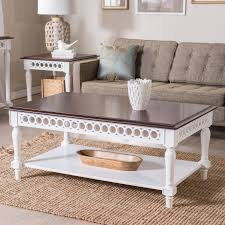 Narrow Side Table For Living Room by Belham Living Jocelyn Coffee Table White Walnut Hayneedle