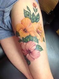 hawaiian flower tattoos on thigh elaxsir