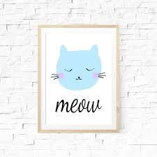 Kids Room Prints by Cat Print Meow Cat Print Wall Art Nursery Cute Cat Meow Print