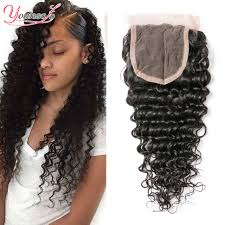 black hair weave part in the middle peruvian deep wave closure piece free part middle part peruvian