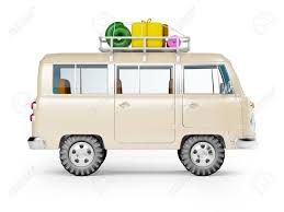 volkswagen minibus side view retro safari van with roof rack in cartoon style isolated on