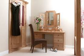 real wood bedroom furniture in orange wood finish with dressing