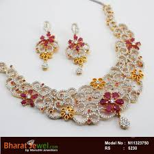 zircon necklace images Zircon ruby stone designar necklace set online jpg